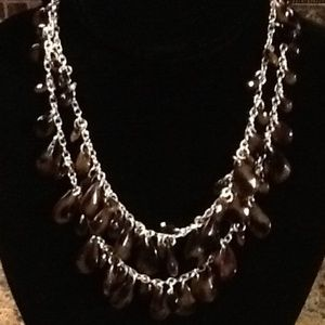 Jewelry - Petite Silver Tone 2 Strand Necklace W/Brown Beads
